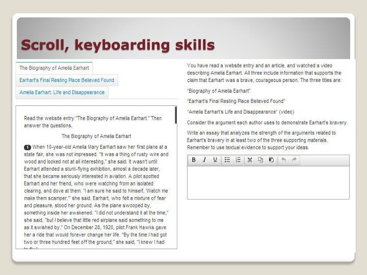 Scroll, keyboarding skills