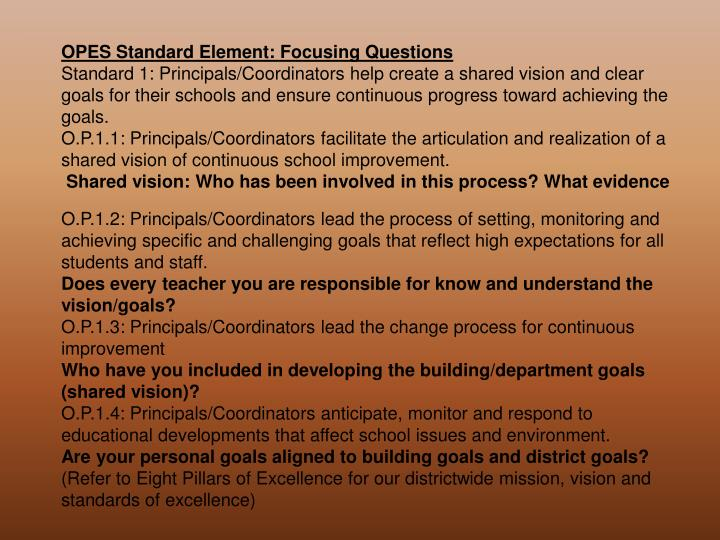 OPES Standard Element: Focusing Questions