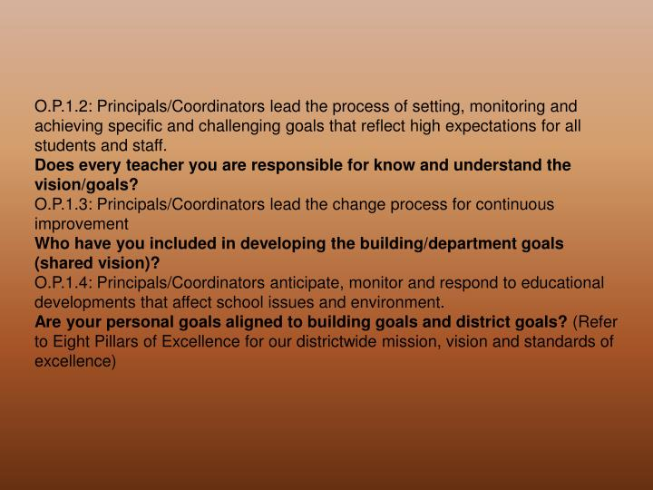 O.P.1.2: Principals/Coordinators lead the process of setting, monitoring and achieving specific and challenging goals that reflect high expectations for all students and staff.