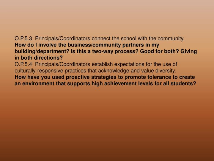O.P.5.3: Principals/Coordinators connect the school with the community.