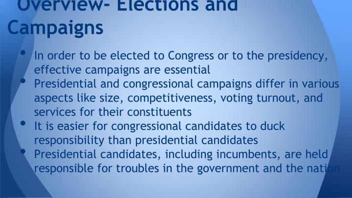 Overview- Elections and Campaigns