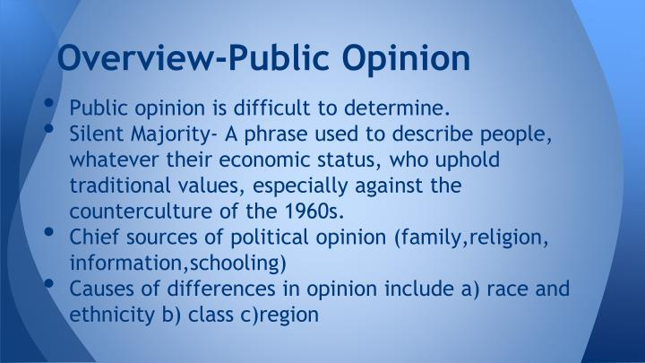 Overview public opinion
