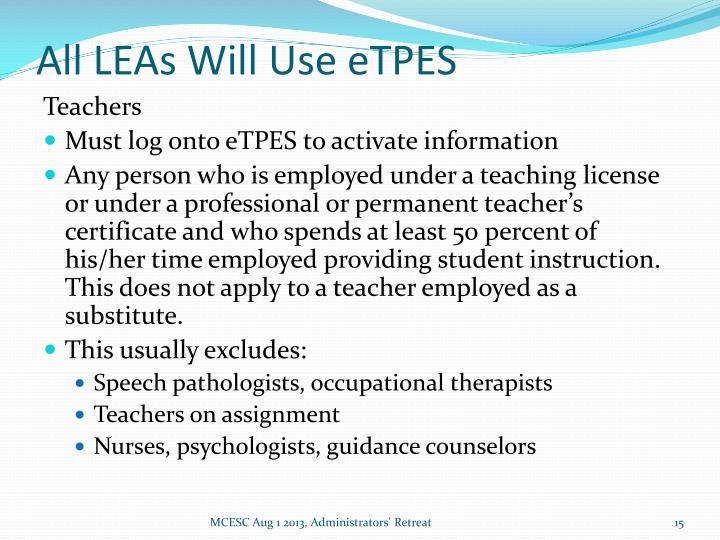 All LEAs Will Use eTPES