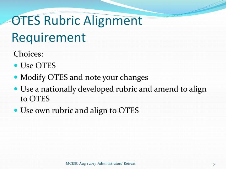 OTES Rubric Alignment