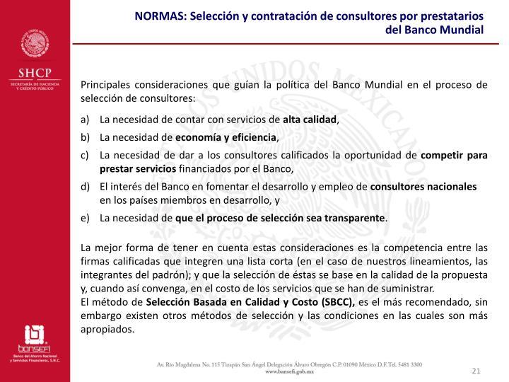 NORMAS: Selección y contratación de consultores por prestatarios del Banco Mundial