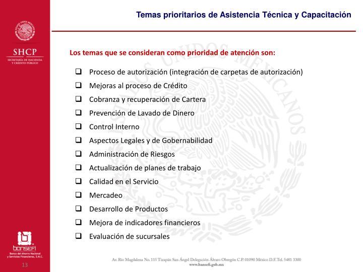 Temas prioritarios de Asistencia Técnica y Capacitación
