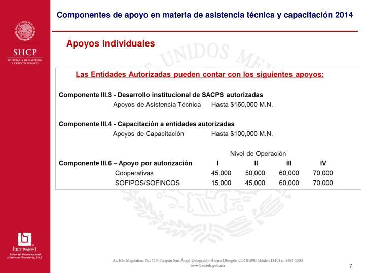 Componentes de apoyo en materia de asistencia técnica y capacitación 2014