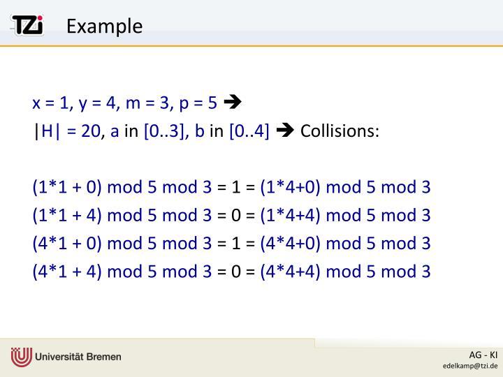 x = 1, y = 4, m = 3, p = 5