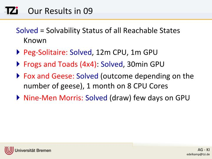 Our Results in 09