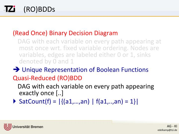 (Read Once) Binary Decision Diagram