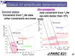 status of amplitude determination