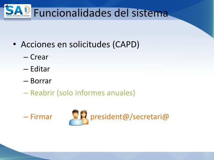 Funcionalidades del sistema