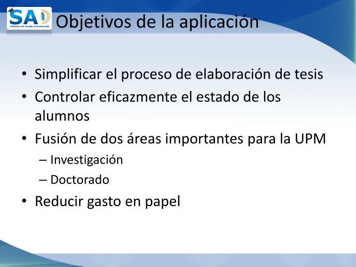 Objetivos de la aplicación