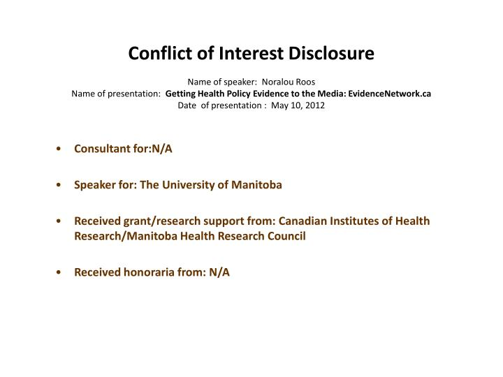 Conflict of Interest Disclosure