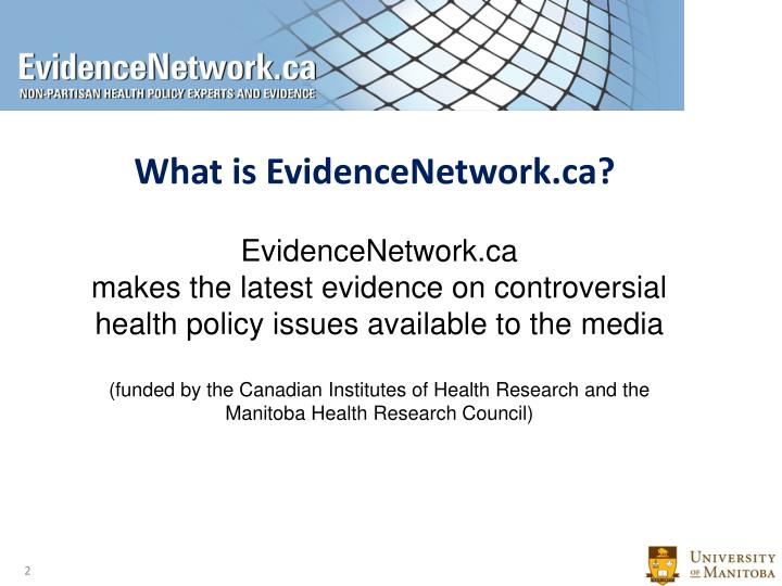 What is EvidenceNetwork.ca