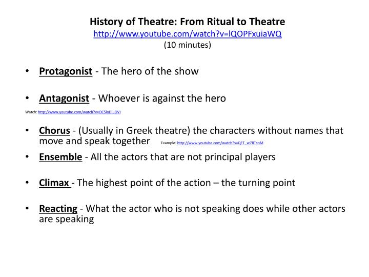 History of Theatre: From Ritual to Theatre