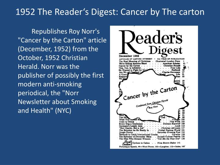 1952 The Reader's Digest: Cancer by The carton