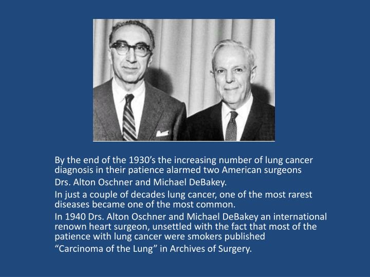 By the end of the 1930's the increasing number of lung cancer diagnosis in their patience alarmed two American surgeons