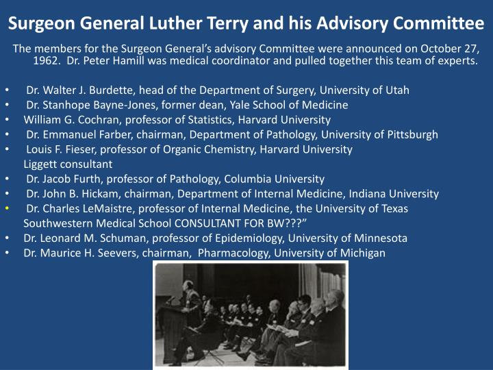 Surgeon General Luther Terry and his Advisory Committee