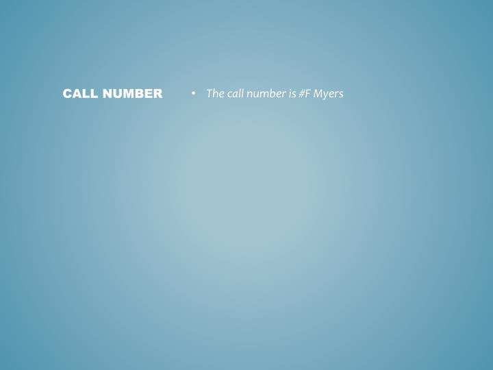 The call number is #F Myers