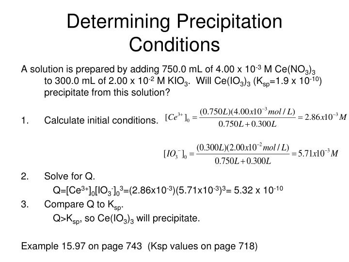 Determining Precipitation Conditions