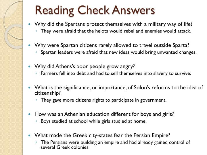 Reading Check Answers