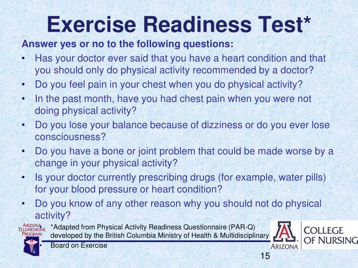 Exercise Readiness Test*
