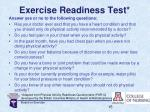 exercise readiness test