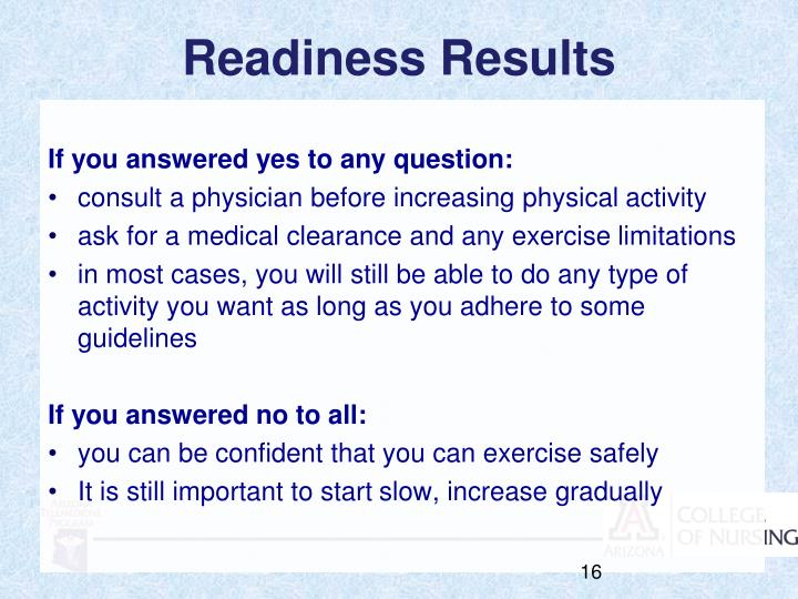 Readiness Results