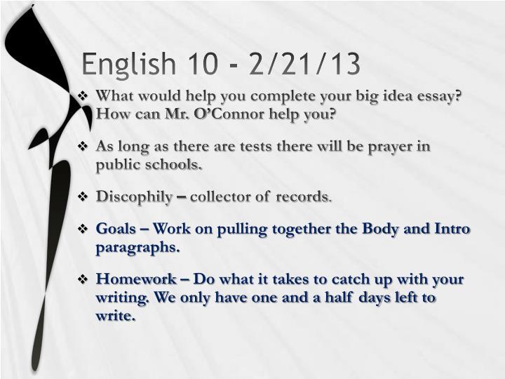 English 10 - 2/21/13