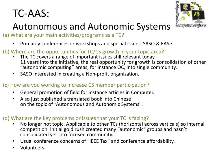 Tc aas autonomous and autonomic systems