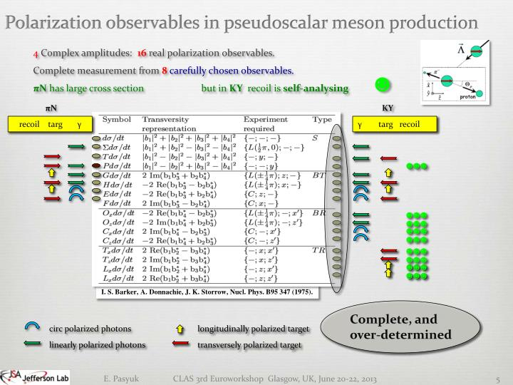 Polarization observables in pseudoscalar meson production