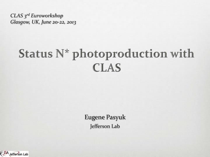 Status n photoproduction with clas