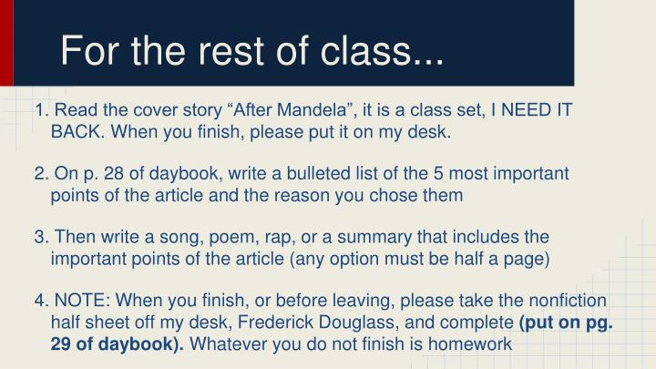 For the rest of class...