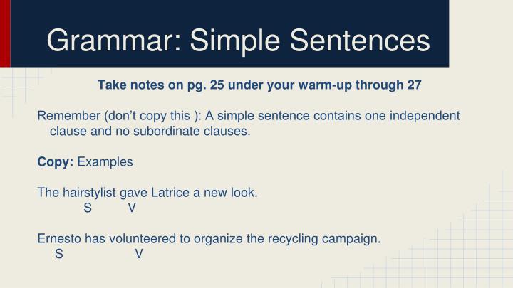 Grammar: Simple Sentences