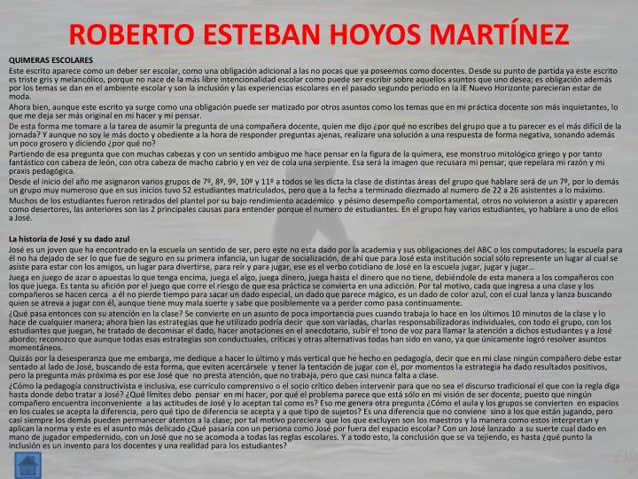 ROBERTO ESTEBAN HOYOS MARTÍNEZ