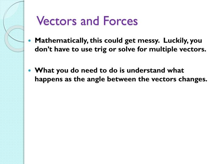 Vectors and Forces