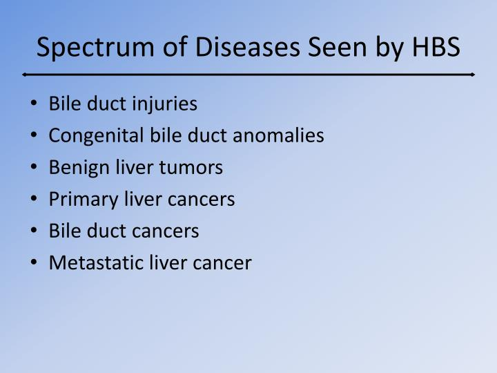 Spectrum of Diseases Seen by HBS
