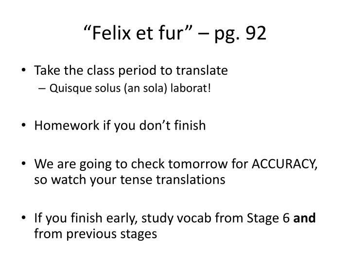 """""""Felix et fur"""" – pg."""
