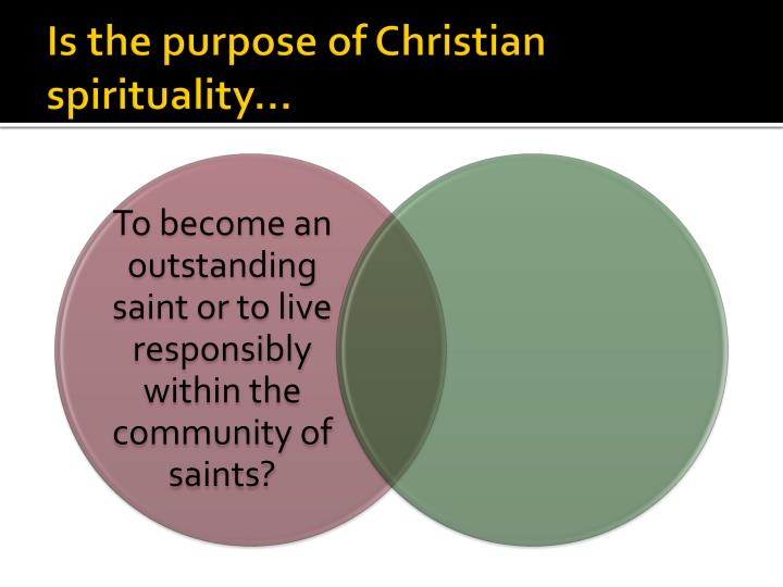 Is the purpose of Christian spirituality…