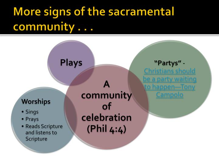 More signs of the sacramental community . . .