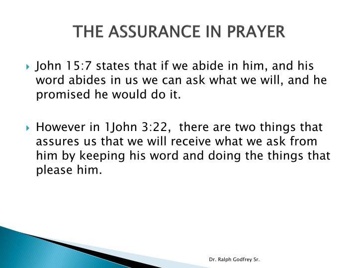 THE ASSURANCE IN PRAYER