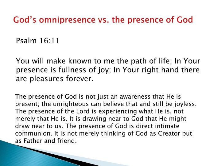 God's omnipresence vs. the presence of