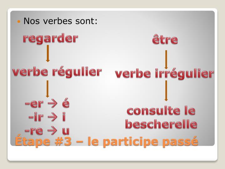 Nos verbes sont: