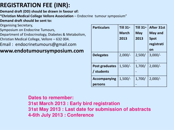 REGISTRATION FEE (INR):