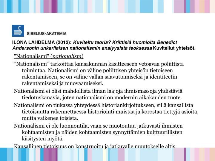 ILONA LAHDELMA (2012):
