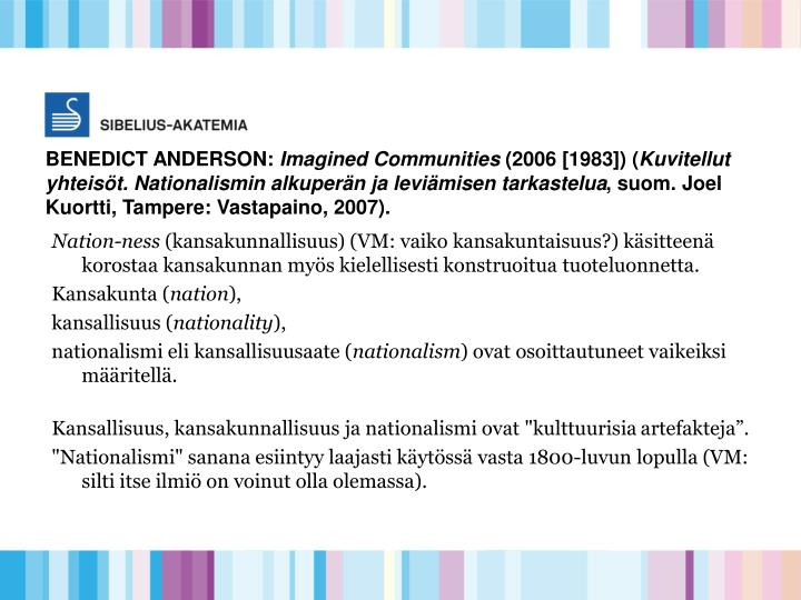 BENEDICT ANDERSON: