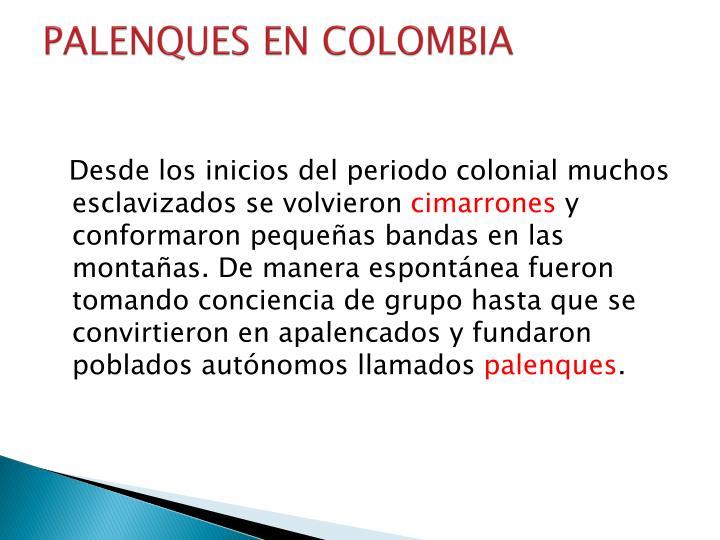 PALENQUES ENCOLOMBIA