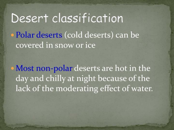Desert classification