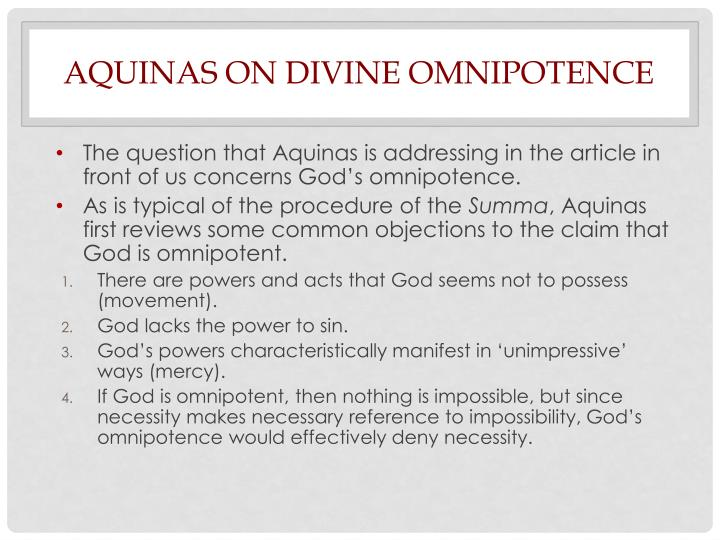 Aquinas on Divine Omnipotence